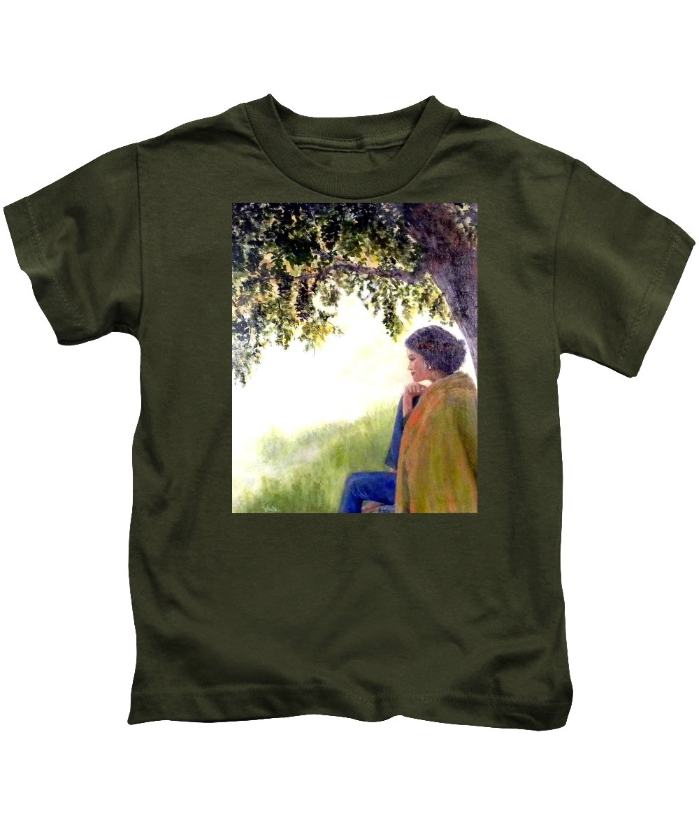 Peaceful Kids T-Shirt featuring the painting Catching The Spirit by Judie White