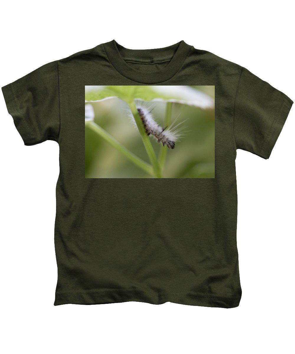 Caterpillar Kids T-Shirt featuring the photograph Caterpillar's Spring Green by Kyra Savolainen