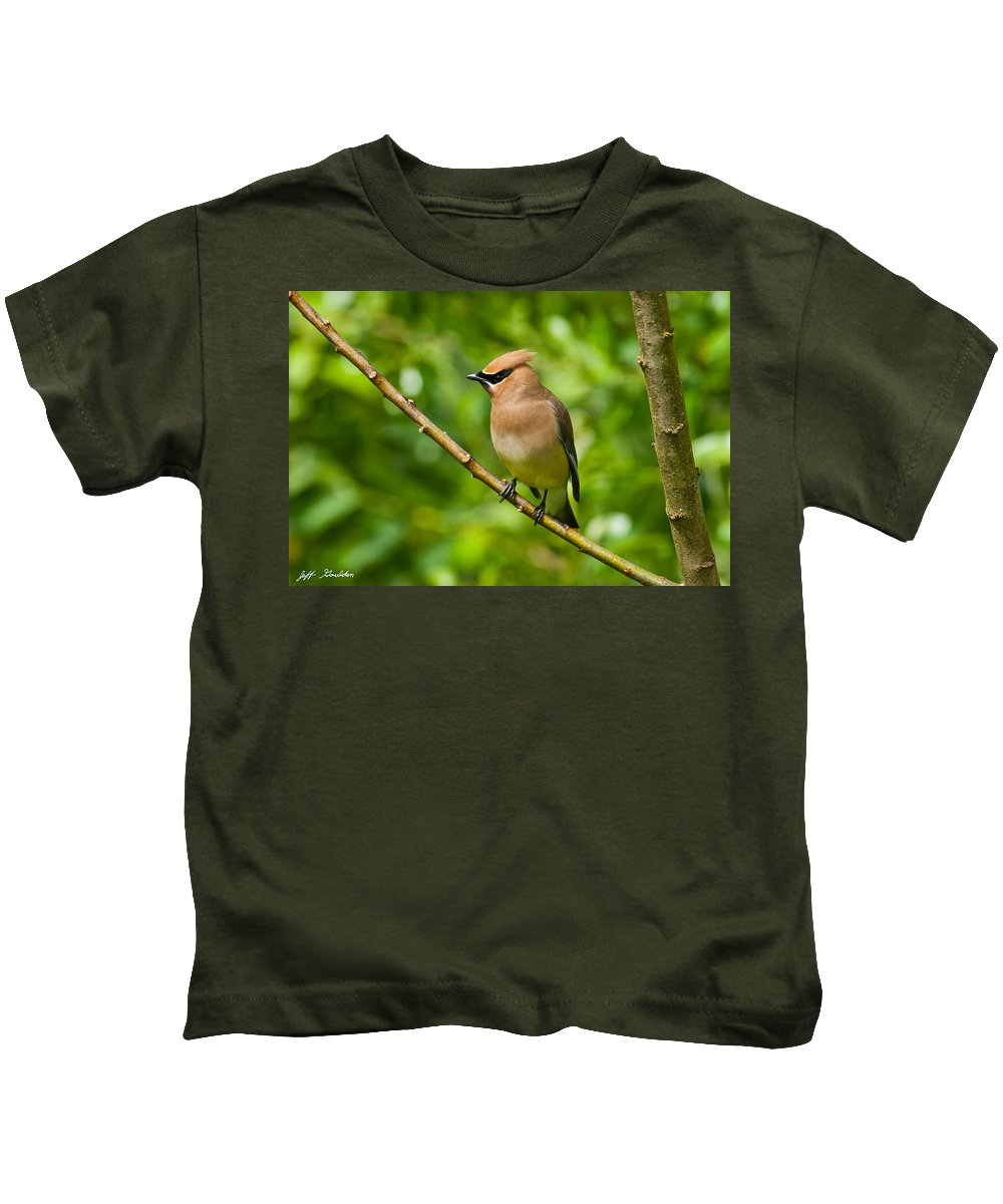 Animal Kids T-Shirt featuring the photograph Cedar Waxwing Gathering Nesting Material by Jeff Goulden