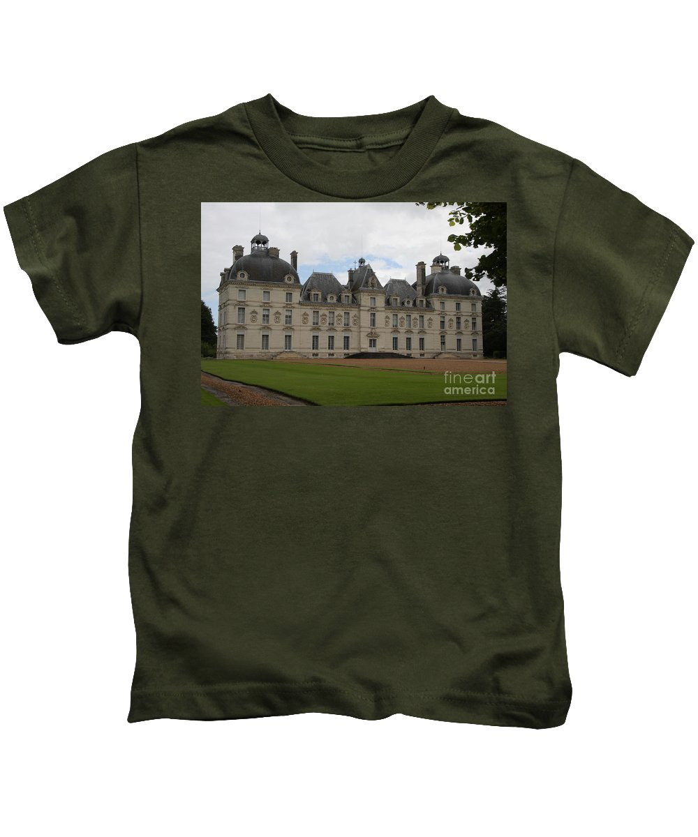Palace Kids T-Shirt featuring the photograph Chateau Cheverney - Front View by Christiane Schulze Art And Photography