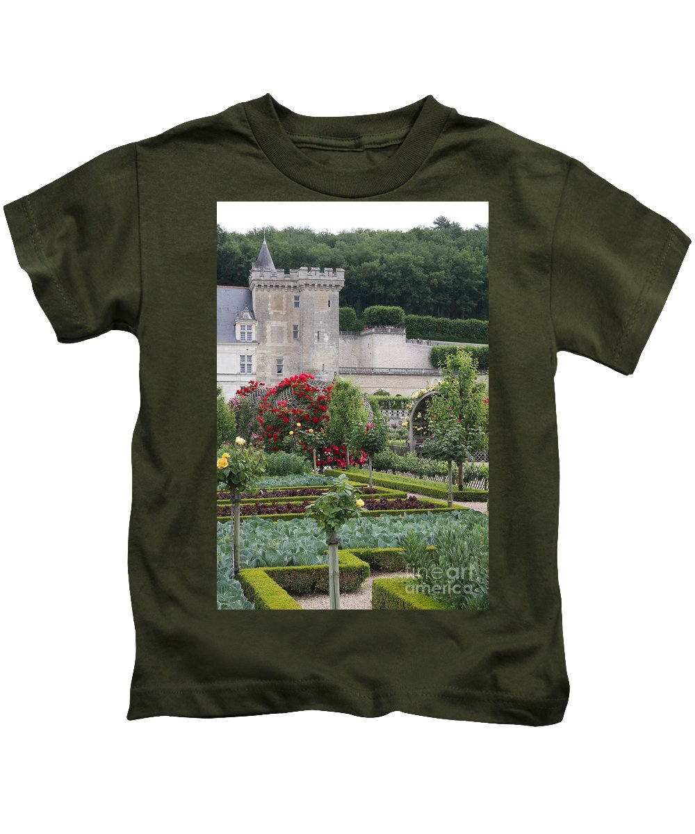 Palace Kids T-Shirt featuring the photograph Chateau Villandry And The Cabbage Garden by Christiane Schulze Art And Photography
