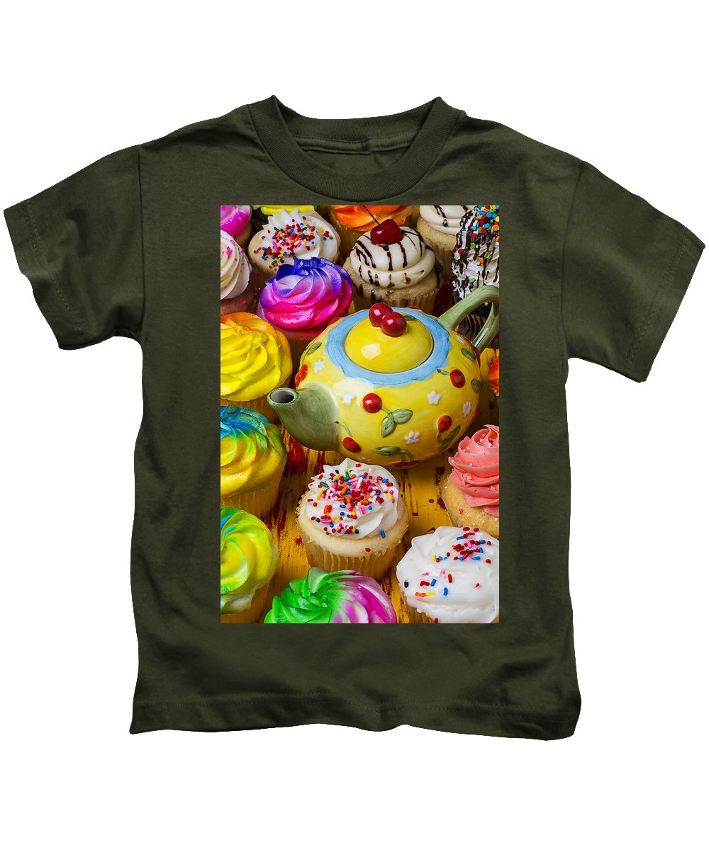 Teapot Kids T-Shirt featuring the photograph Cherry Teapot And Cupcakes by Garry Gay
