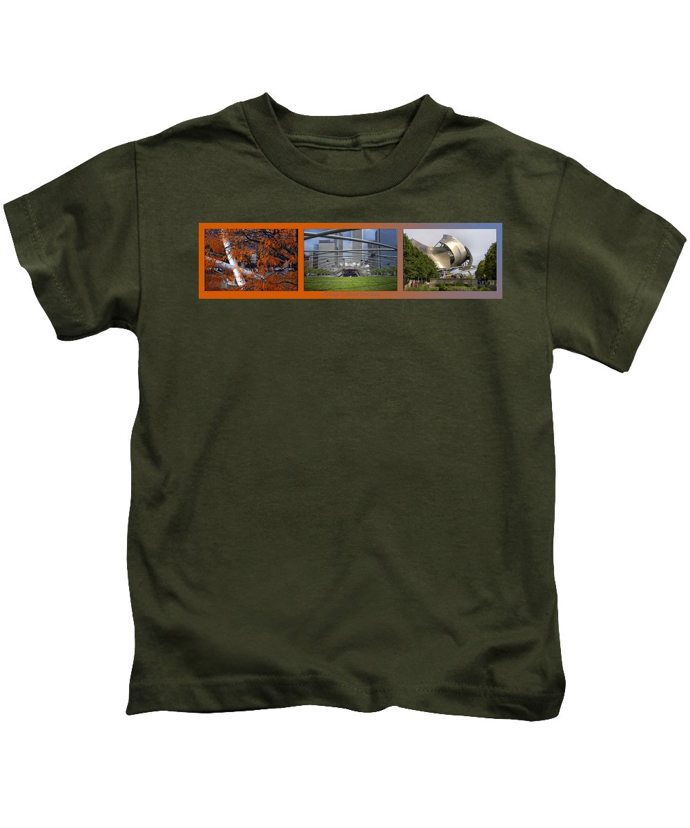 Chicago Kids T-Shirt featuring the photograph Chicago Pritzker Music Pavillion Triptych 3 Panel by Thomas Woolworth