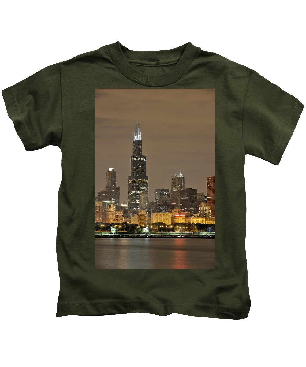 Chicago Skyline Kids T-Shirt featuring the photograph Chicago Skyline At Night by Sebastian Musial