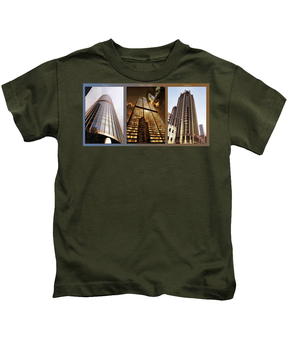 Chicago Kids T-Shirt featuring the photograph Chicago Tall Shoulders Trump Sears Tribune Triptych 3 Panel 02 by Thomas Woolworth