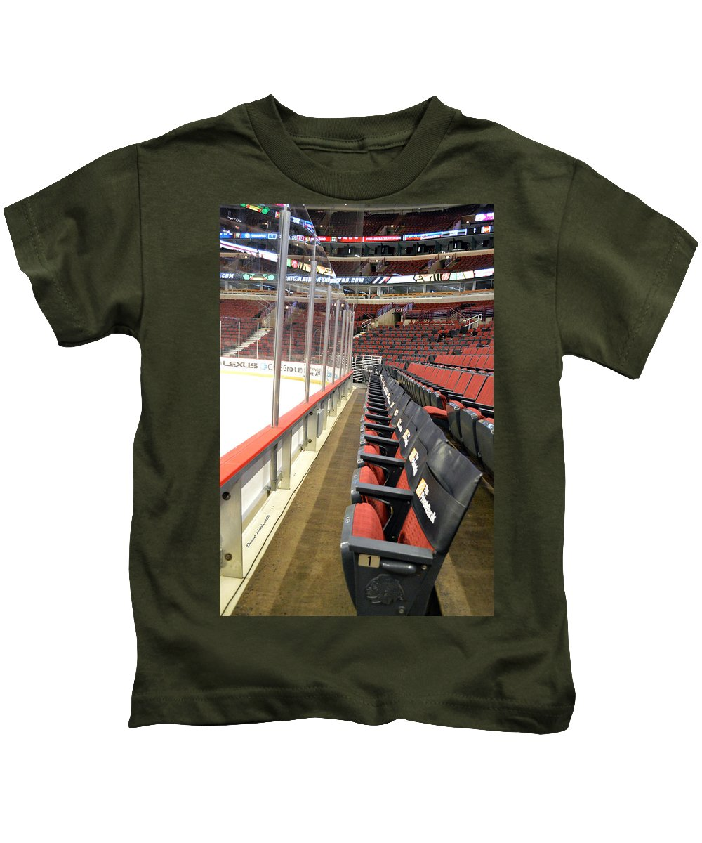 Chicago Blackhawks Kids T-Shirt featuring the photograph Chicago United Center Before The Gates Open Blackhawk Seat One by Thomas Woolworth