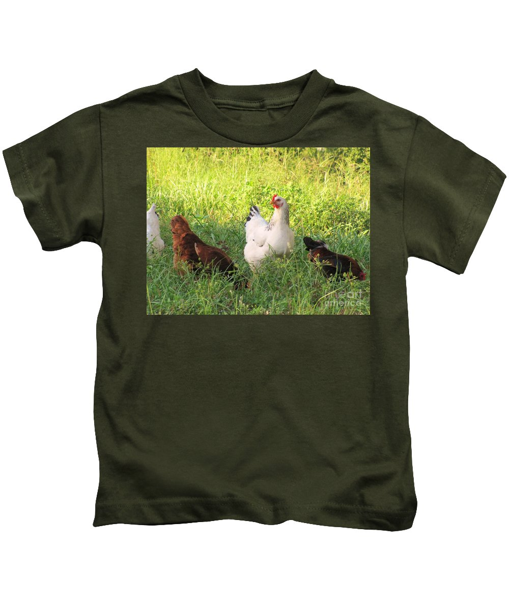 Livestock Kids T-Shirt featuring the photograph Chickens In Tall Grass by Michelle Powell
