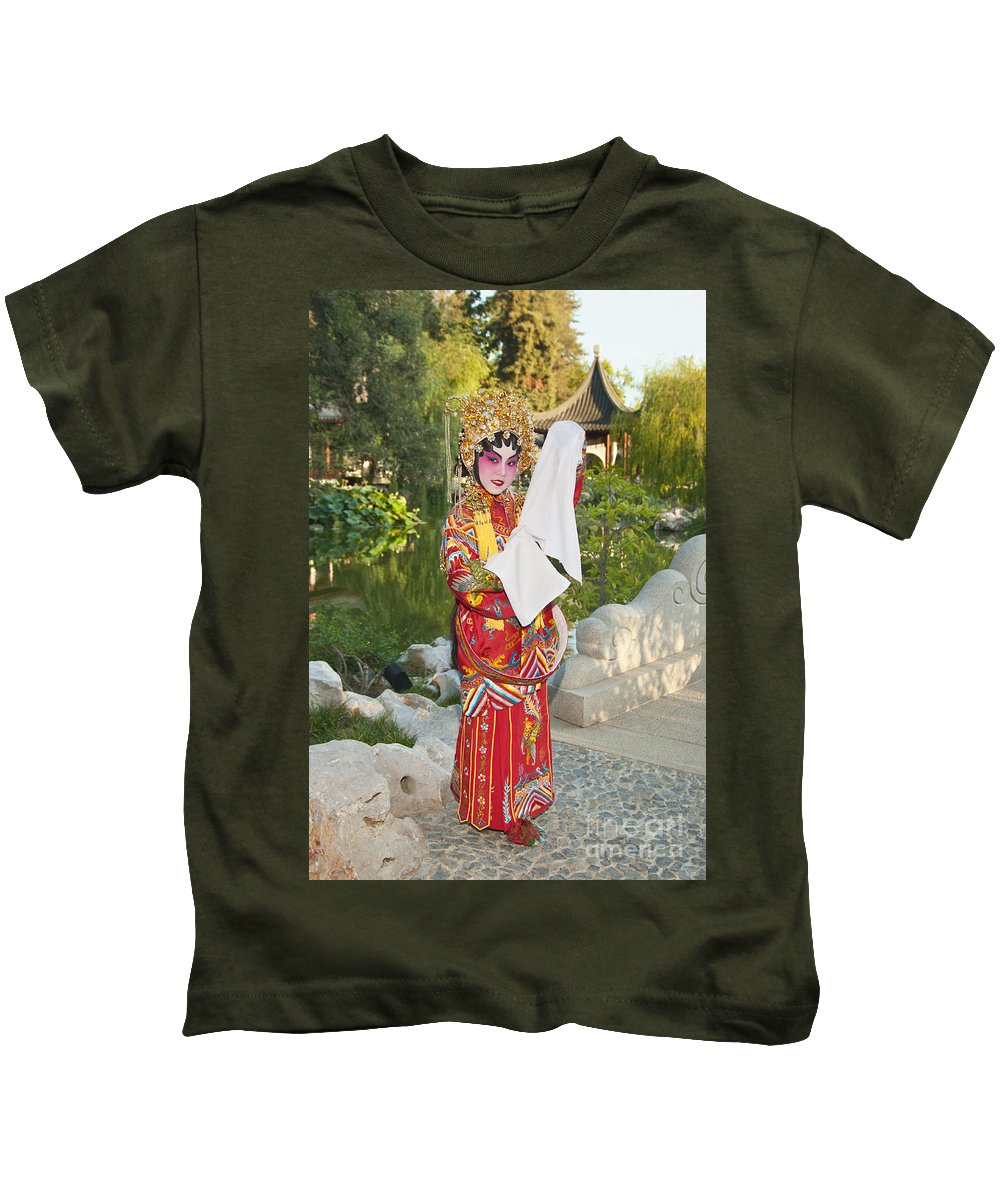 Chinese Opera Kids T-Shirt featuring the photograph Chinese Opera Girl - In Full Traditional Chinese Opera Costumes. by Jamie Pham
