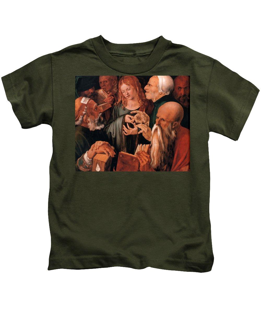 Christ Among The Doctors Kids T-Shirt featuring the digital art Christ Among The Doctors by Albrecht Durer