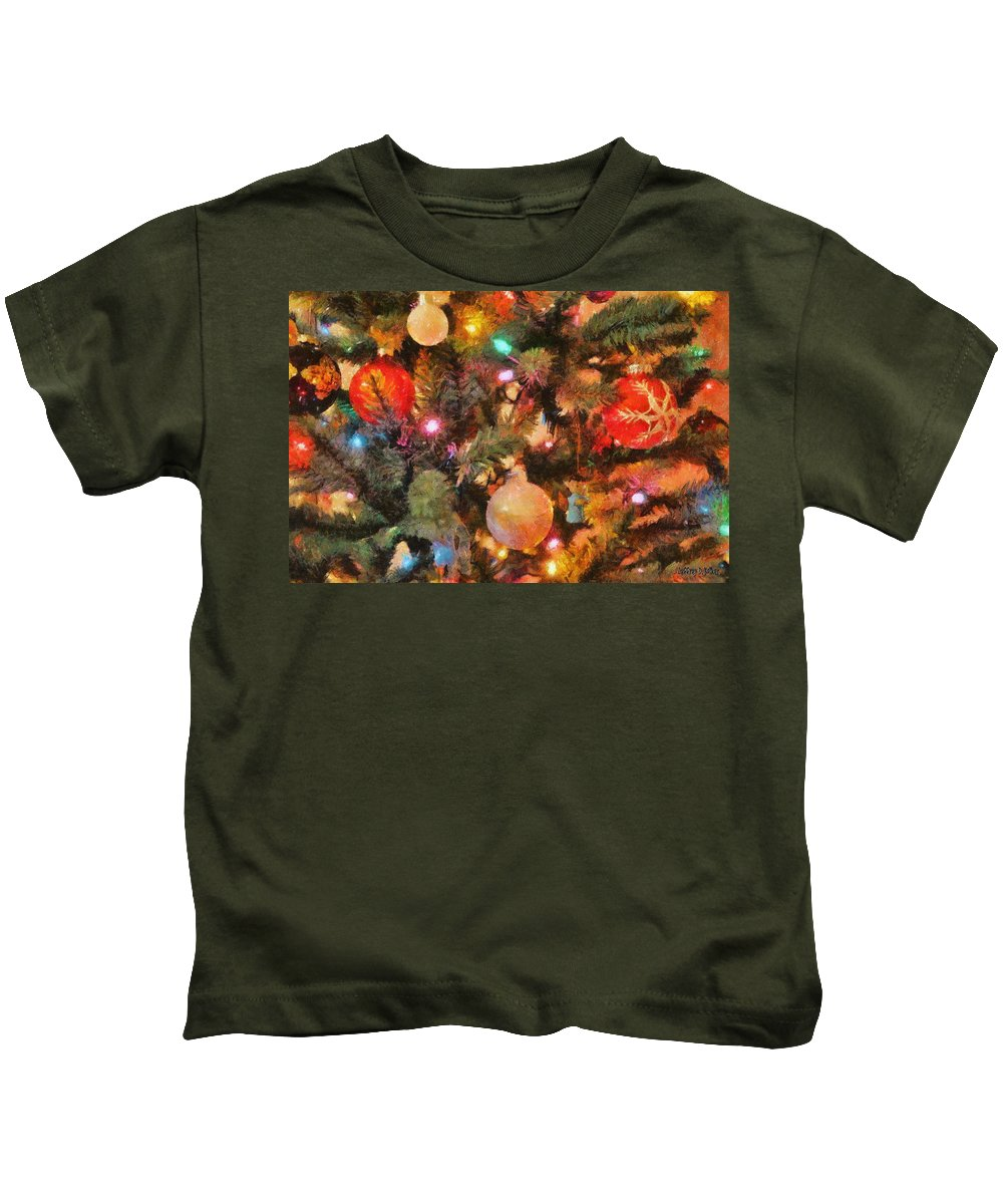 Angel Kids T-Shirt featuring the painting Christmas Branches by Jeffrey Kolker