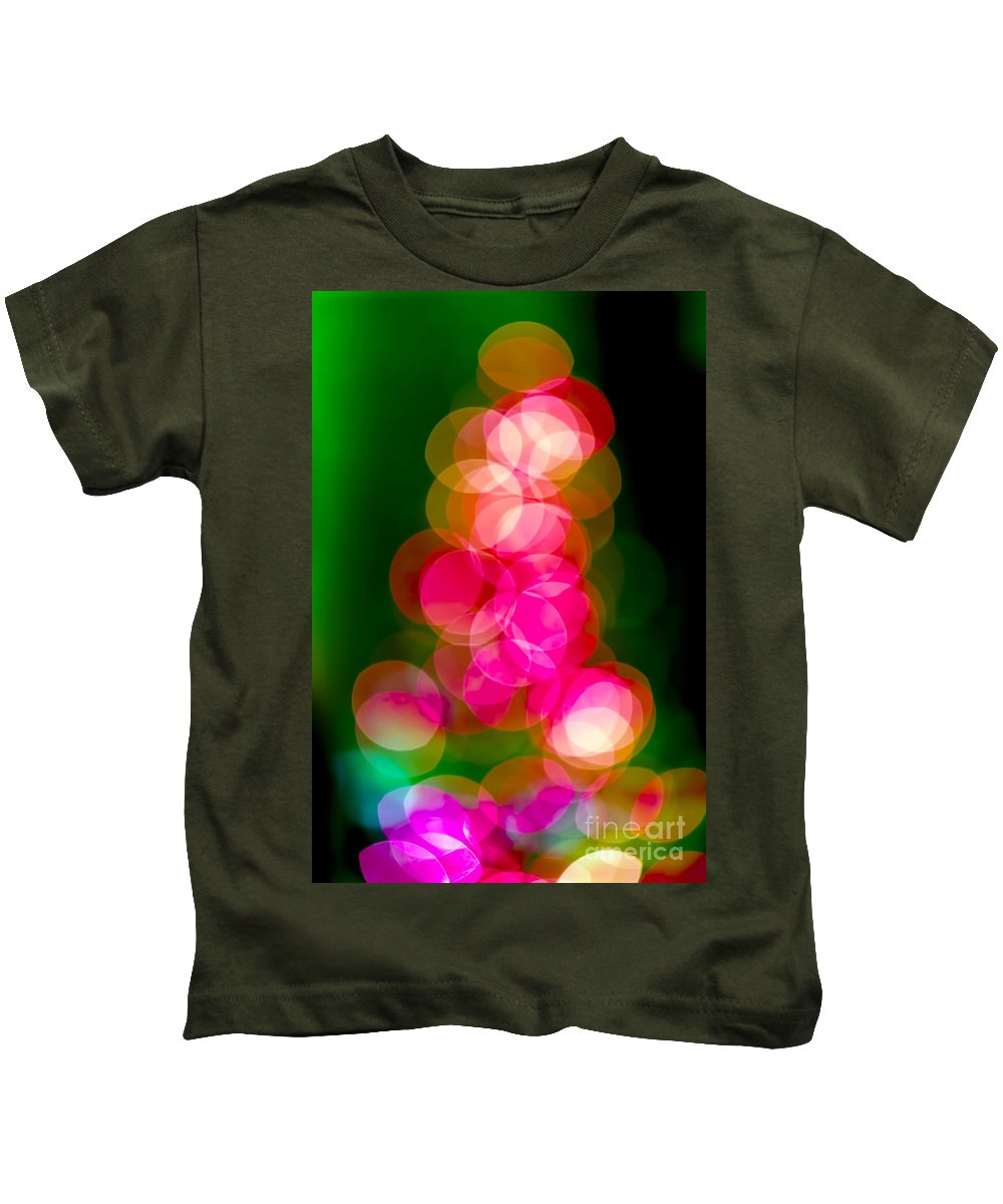 Christmas Kids T-Shirt featuring the photograph Christmas Tree Bokeh Background by Michal Bednarek