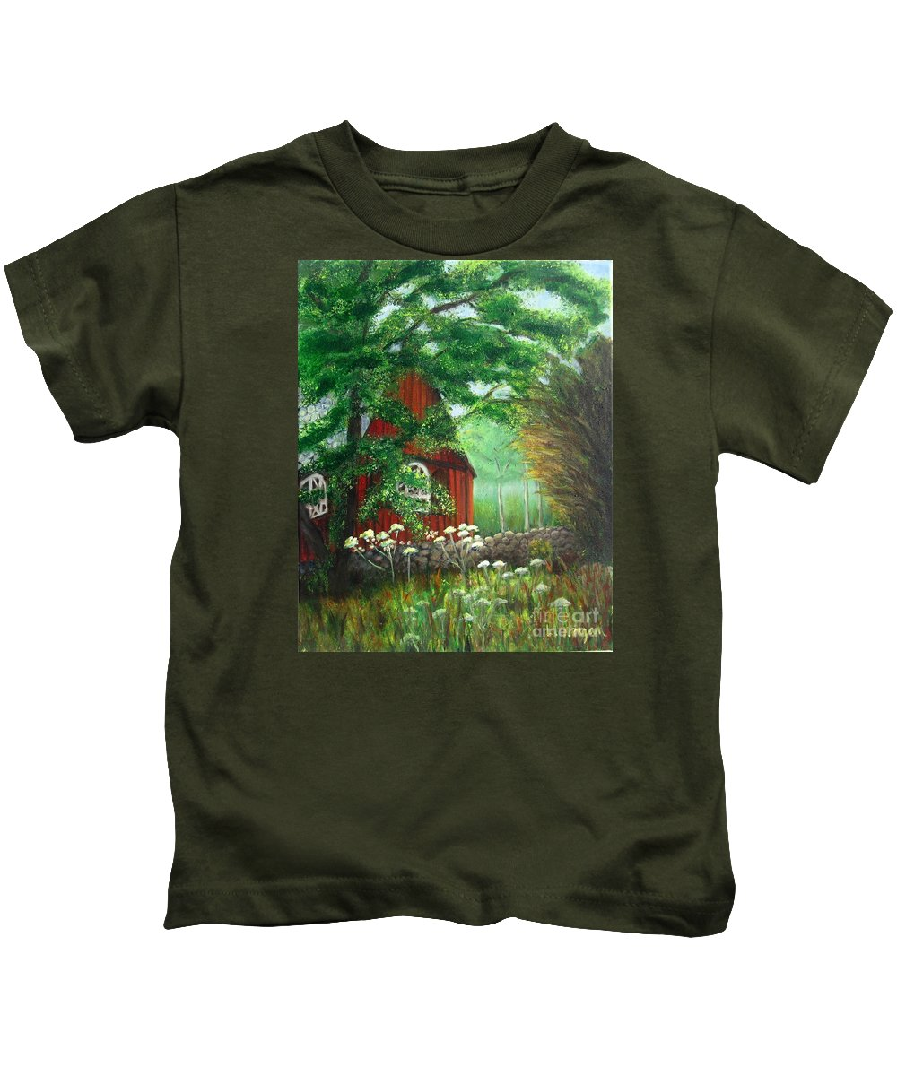 Church Kids T-Shirt featuring the painting Church In The Glen by Laurie Morgan