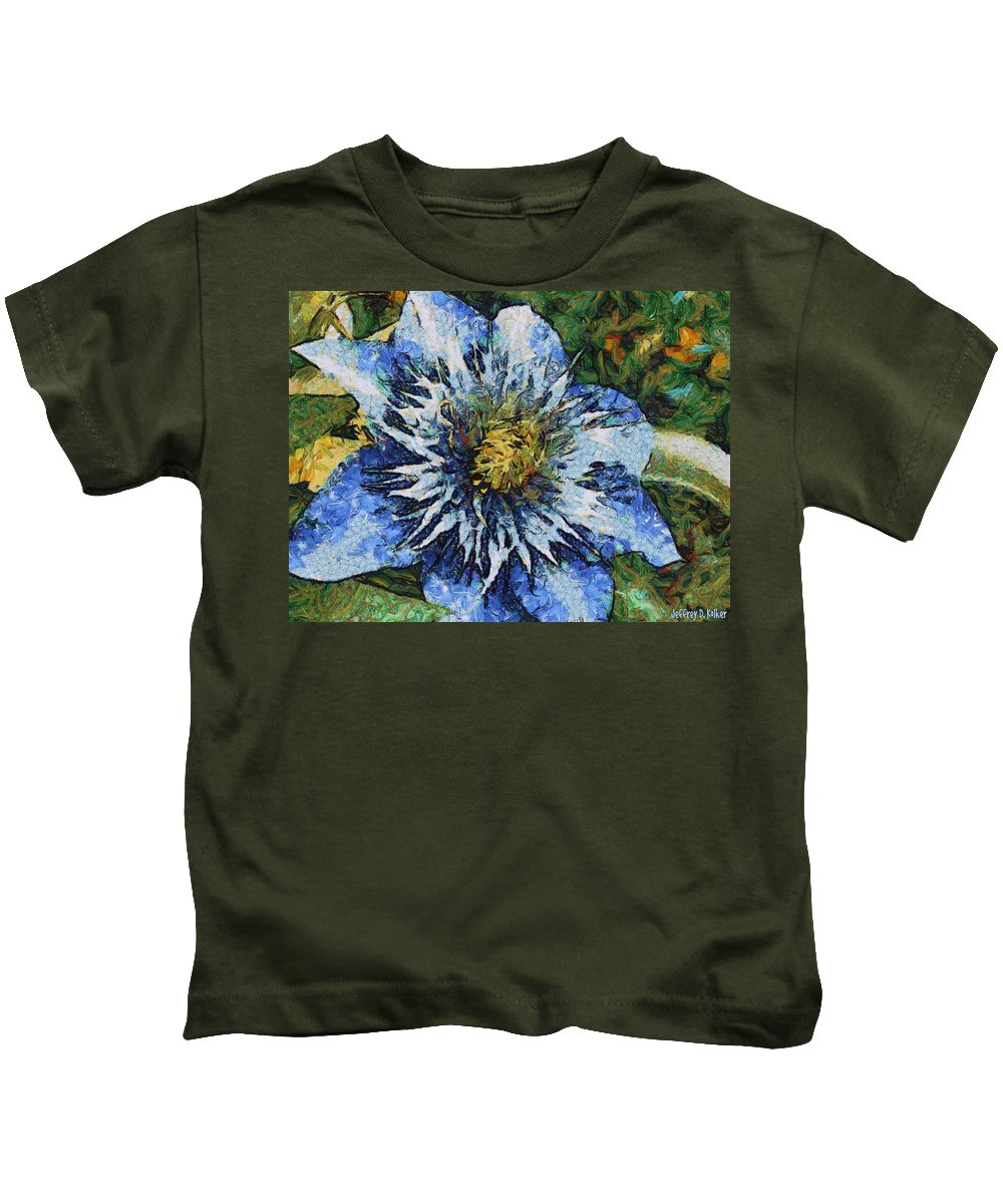 Bloom Kids T-Shirt featuring the painting Clematis by Jeffrey Kolker
