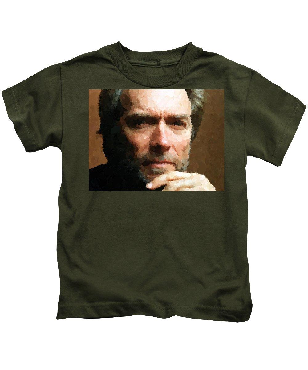 Clint Kids T-Shirt featuring the painting Clint Eastwood Portrait by Samuel Majcen