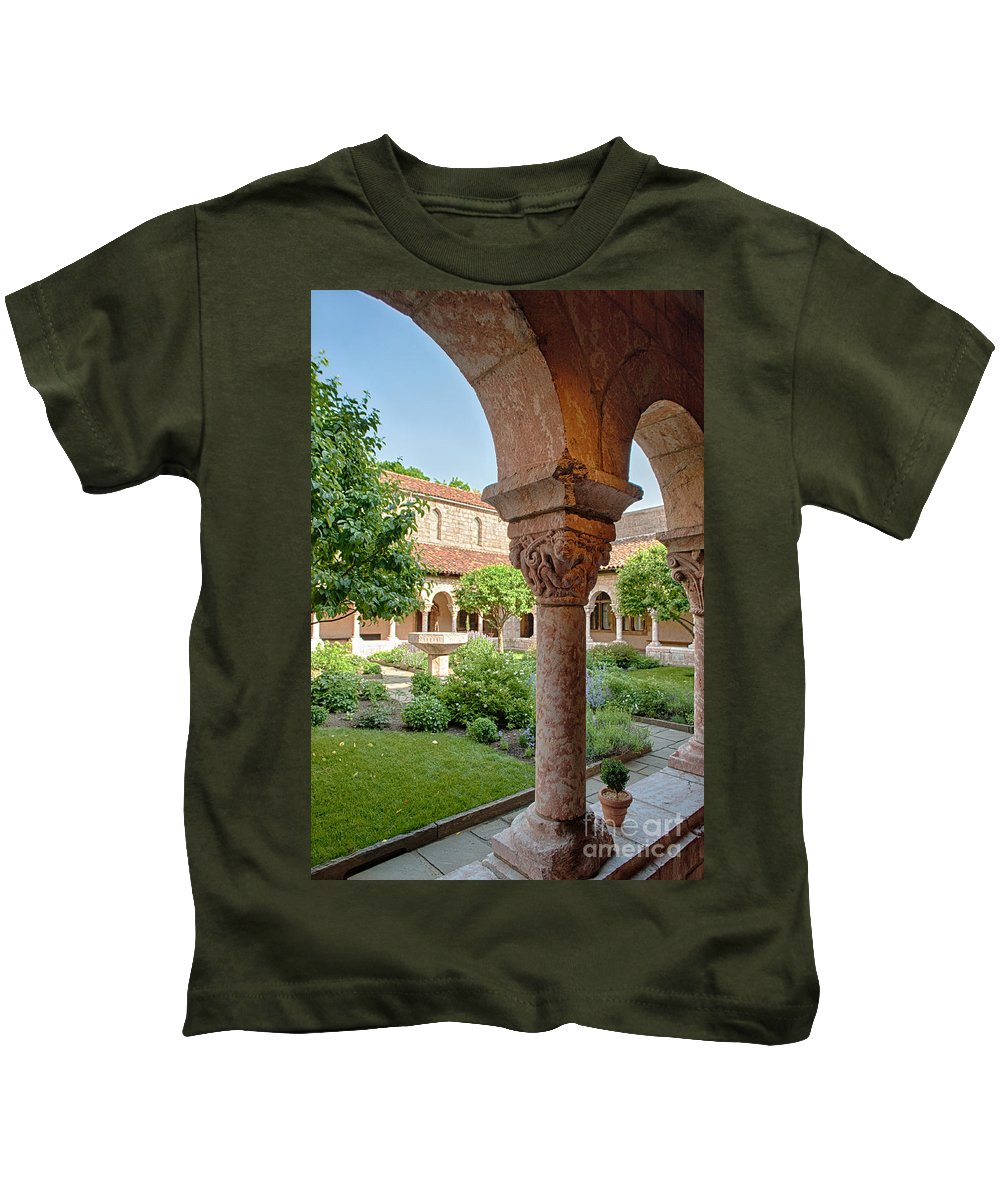 Cloisters Kids T-Shirt featuring the photograph Cloisters Courtyard by Ray Warren