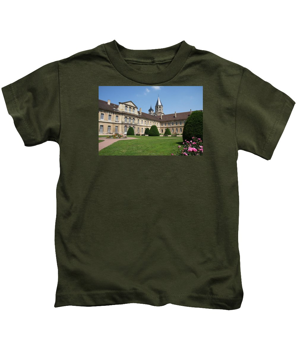 Cloister Kids T-Shirt featuring the photograph Cluny Abbey - Burgundy by Christiane Schulze Art And Photography