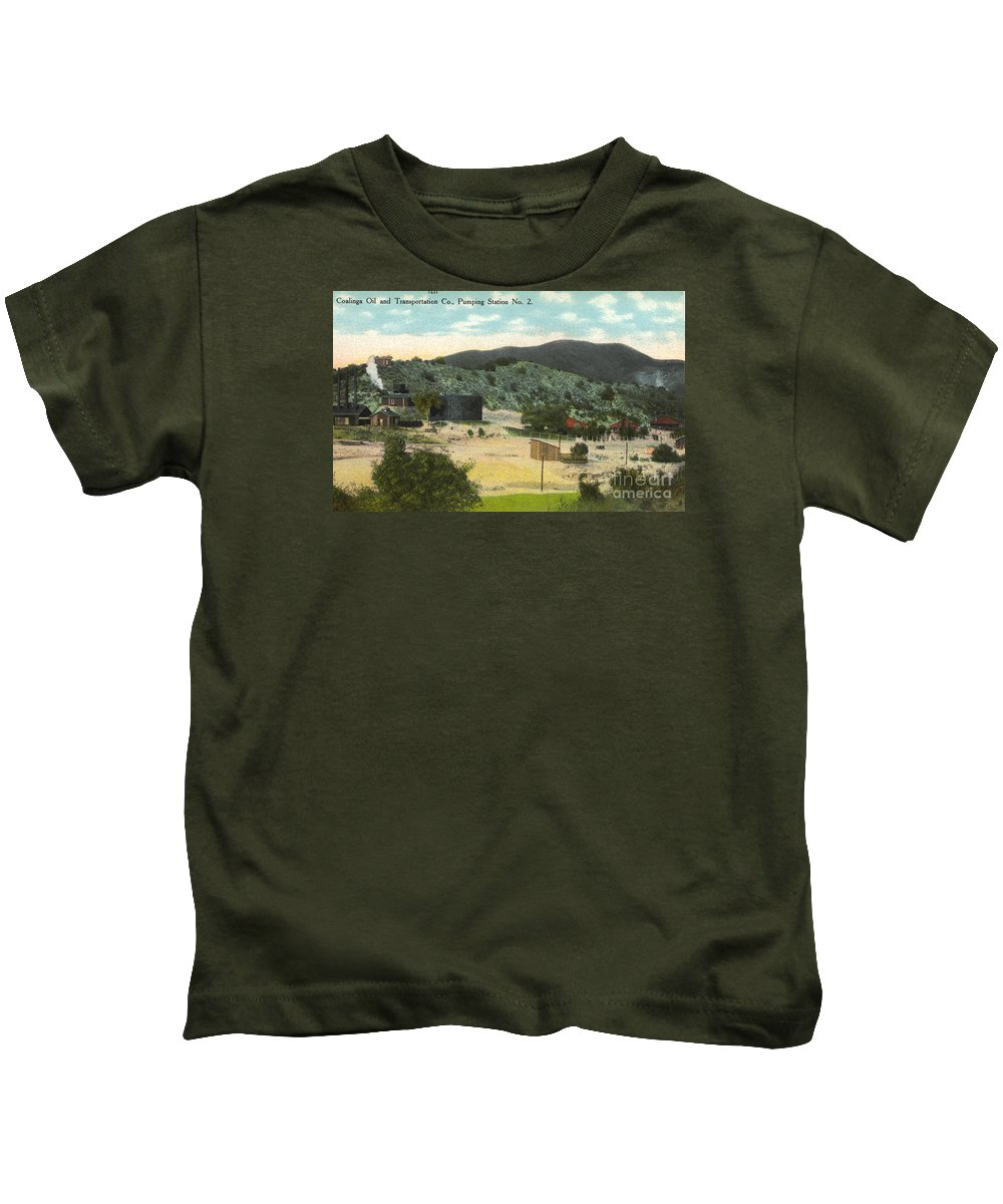 Coalinga Kids T-Shirt featuring the photograph Coalinga Oil And Transportion Co. Pumping Station No. 2 Circa 1910 by California Views Archives Mr Pat Hathaway Archives