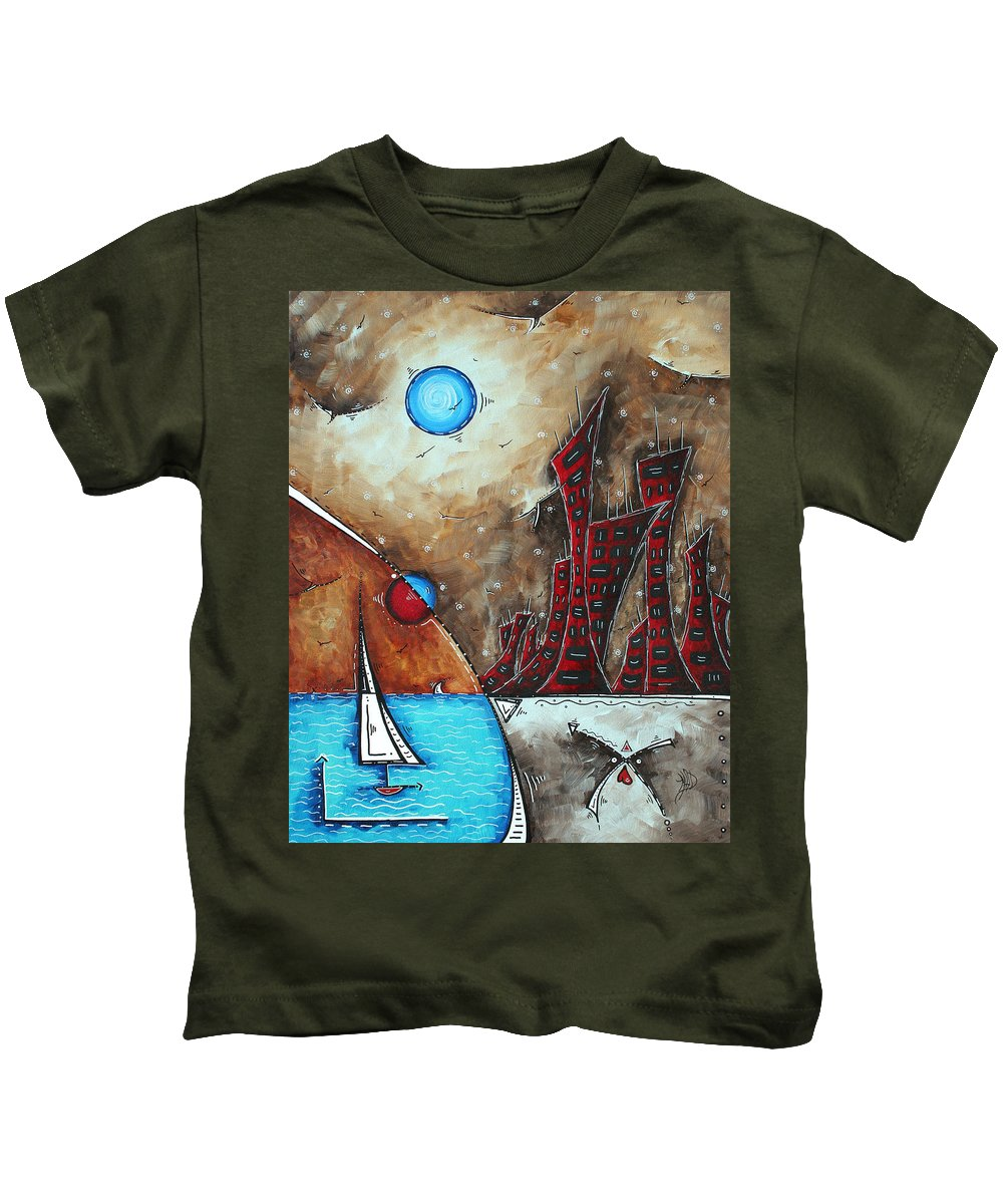 Coastal Kids T-Shirt featuring the painting Coastal Abstract Cityscape Art Original City Painting Morning Retreat By Madart by Megan Duncanson