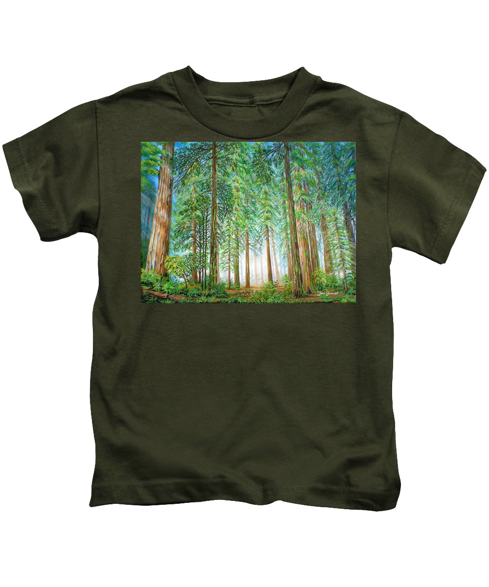 Trees Kids T-Shirt featuring the painting Coastal Redwoods by Jane Girardot