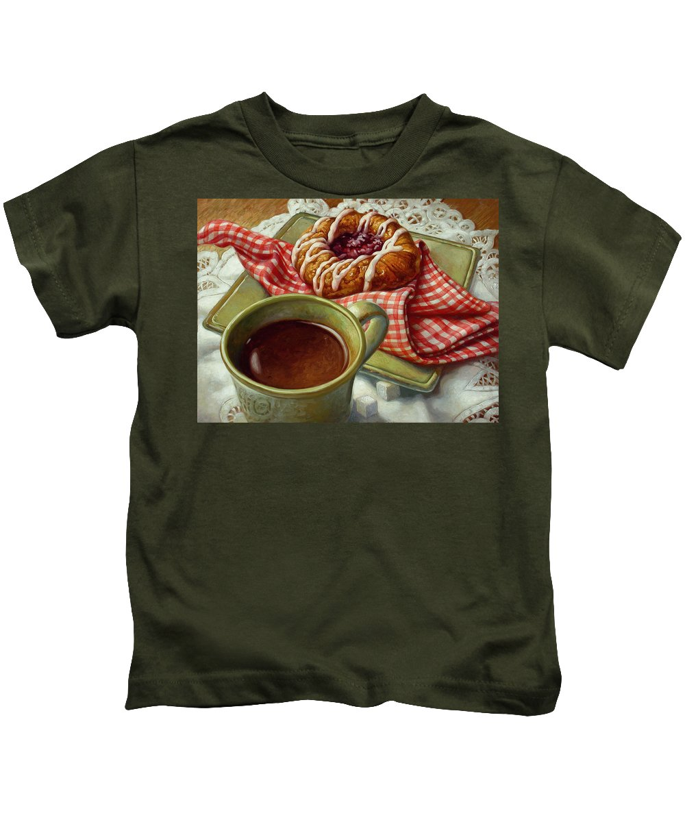 Food And Beverage Kids T-Shirt featuring the painting Coffee And Danish by Mia Tavonatti