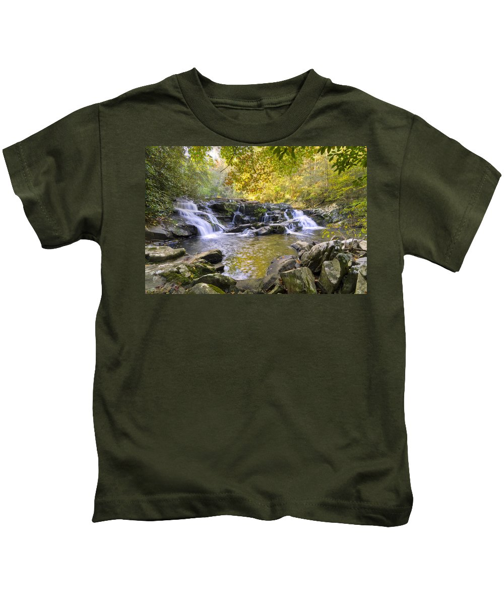Appalachia Kids T-Shirt featuring the photograph Coker Creek Falls by Debra and Dave Vanderlaan