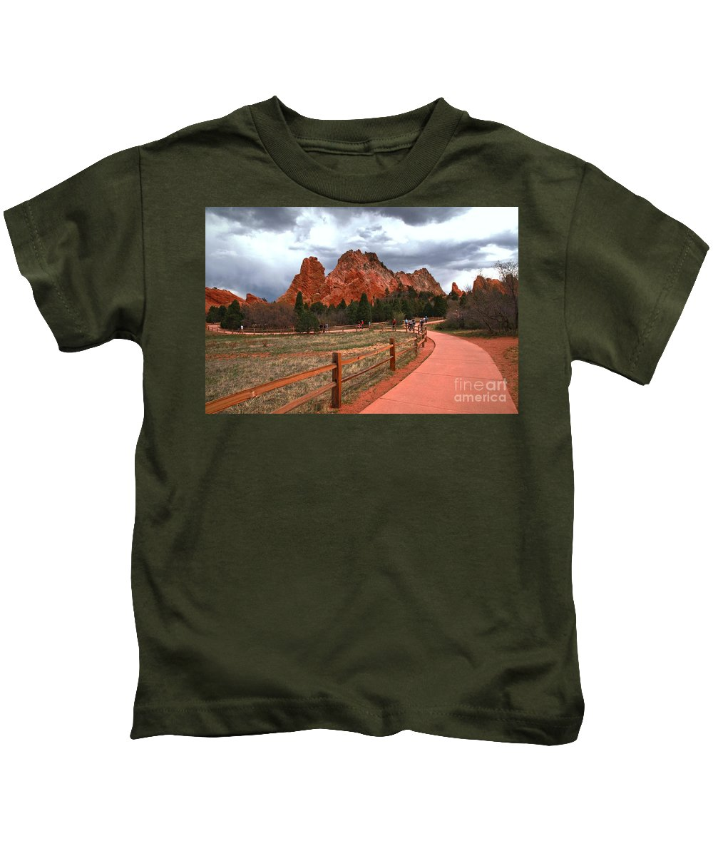 Sunrise At Garden Of The Gods Kids T-Shirt featuring the photograph Colorado Path To Paradise by Adam Jewell