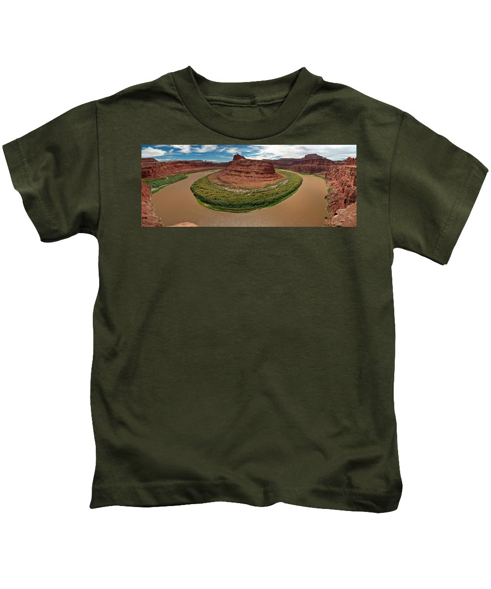 3scape Photos Kids T-Shirt featuring the photograph Colorado River Gooseneck by Adam Romanowicz