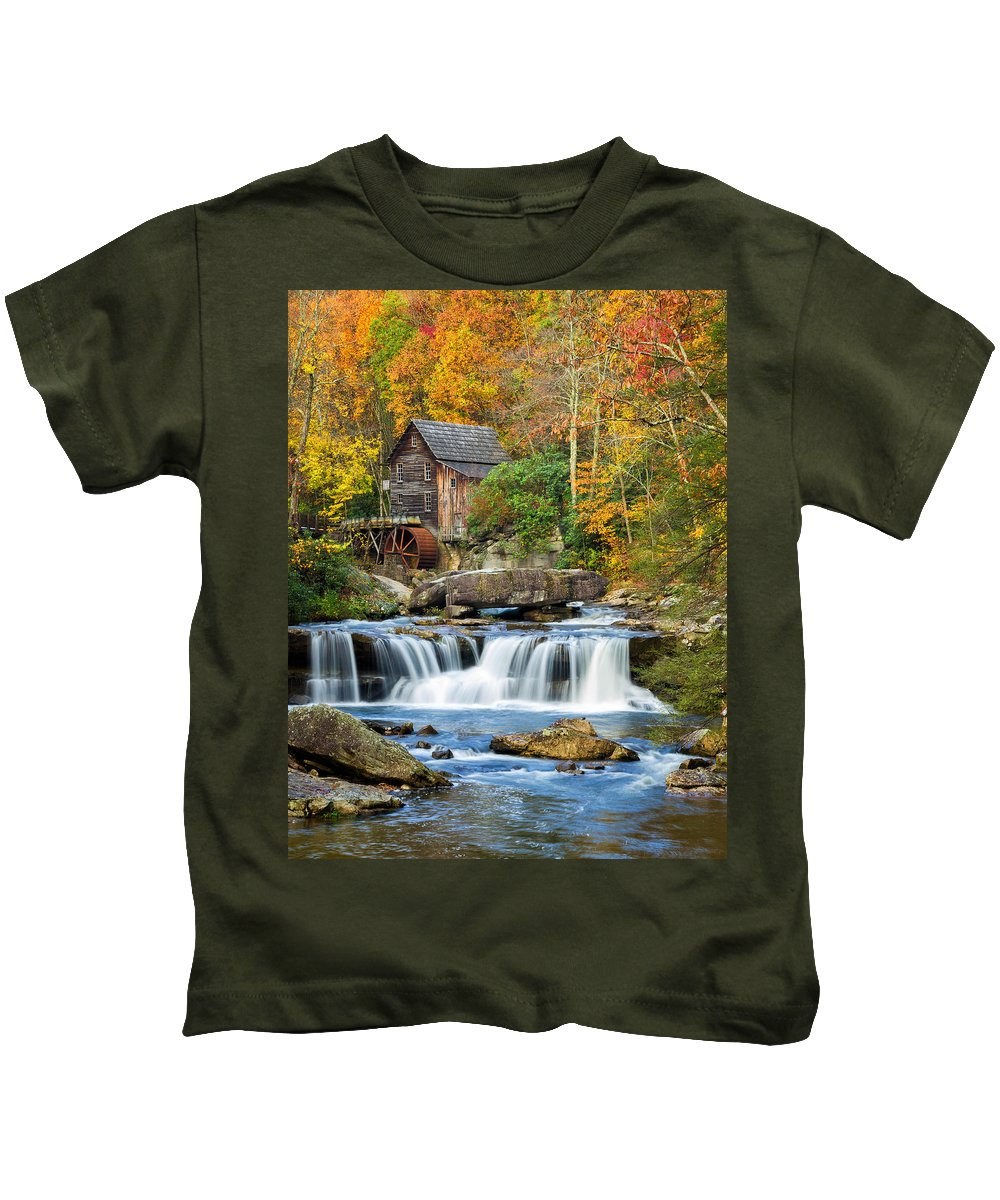 Babcock State Park Kids T-Shirt featuring the photograph Colorful Autumn Grist Mill by Lori Coleman