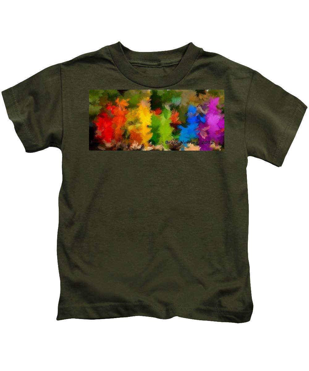 Feather Kids T-Shirt featuring the painting Colorful Feathers by Bruce Nutting
