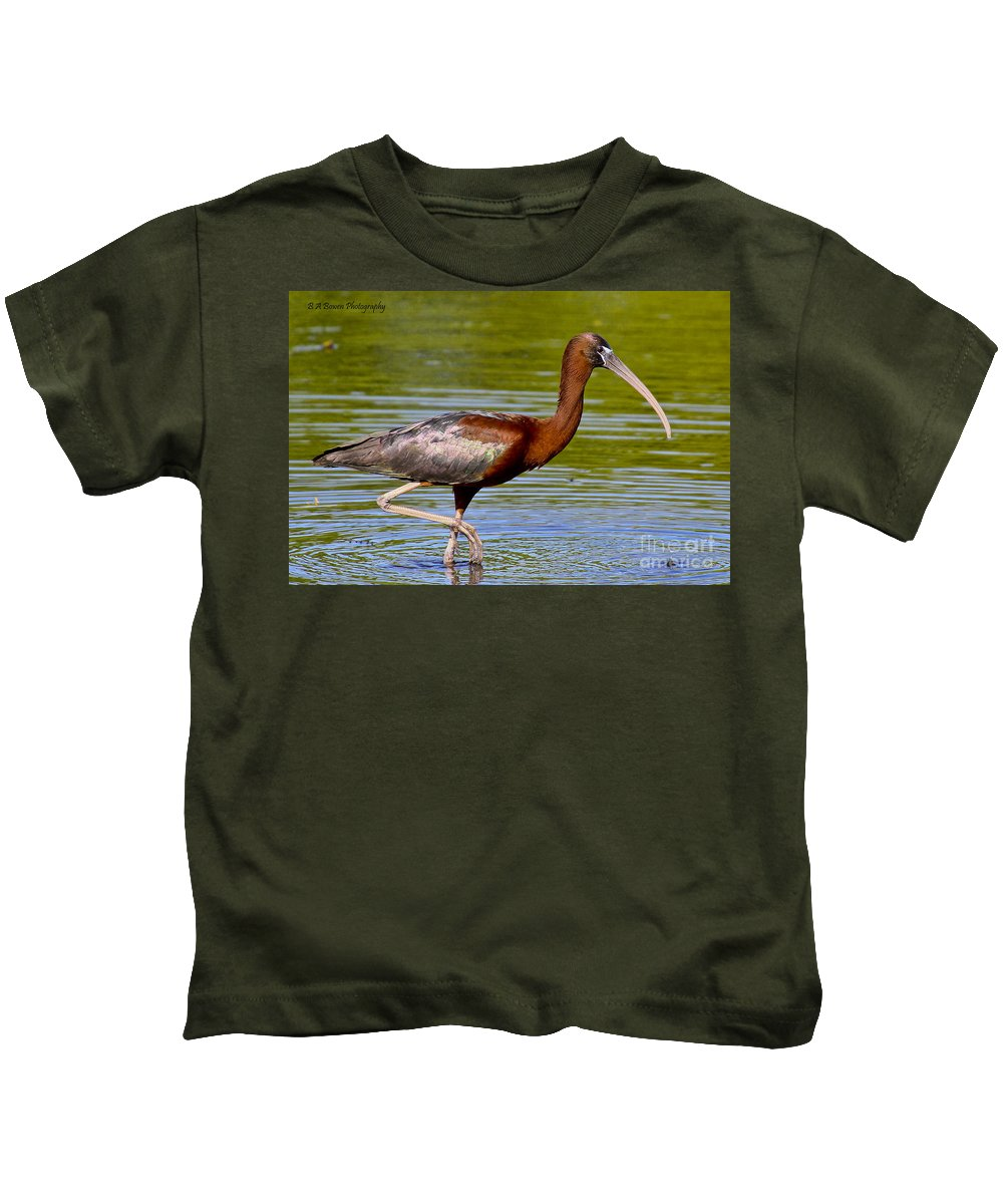 Glossy Ibis Kids T-Shirt featuring the photograph Colorful Glossy Ibis by Barbara Bowen