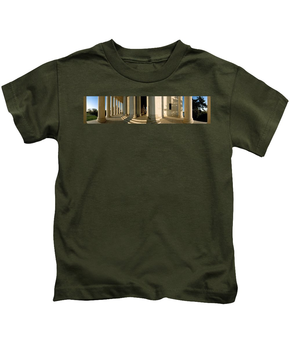 Photography Kids T-Shirt featuring the photograph Columns Of A Memorial, Jefferson by Panoramic Images
