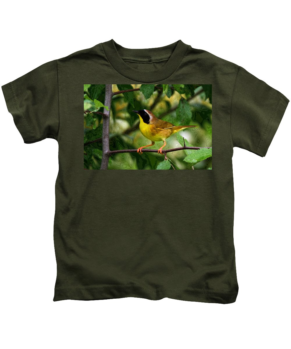 Avian Kids T-Shirt featuring the photograph Common Yellowthroat Warbler by John Absher