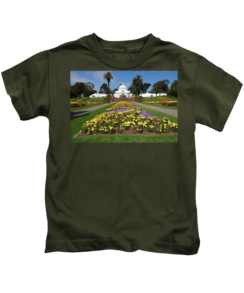 Conservatory Kids T-Shirt featuring the photograph Conservatory Of Flowers by Bradley Bennett
