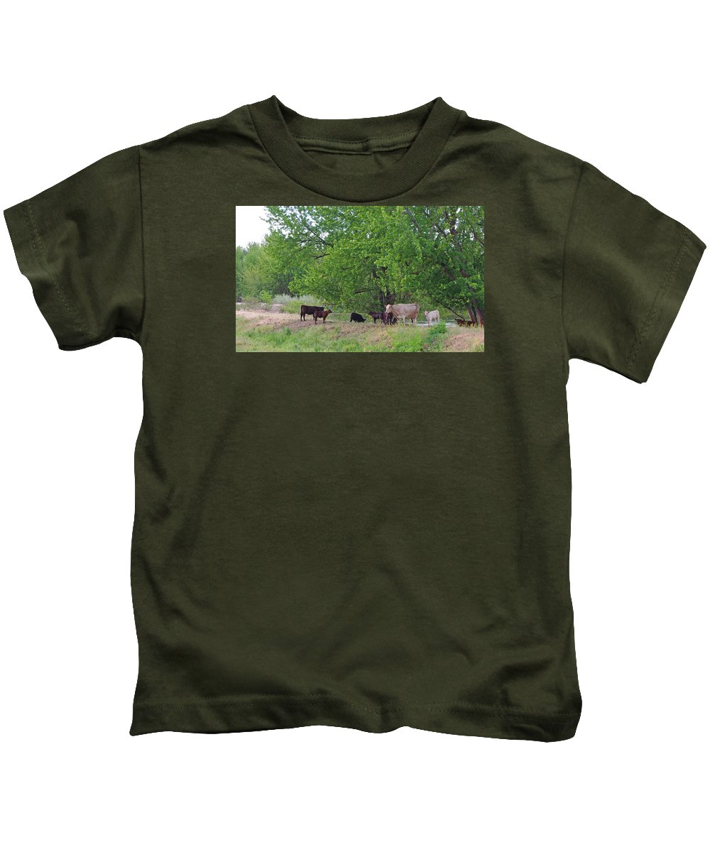 Cattle Kids T-Shirt featuring the photograph Cool Respite by Mike and Sharon Mathews