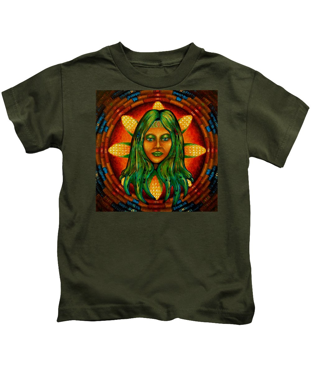 Native American Kids T-Shirt featuring the painting Corn Maiden by Kevin Chasing Wolf Hutchins