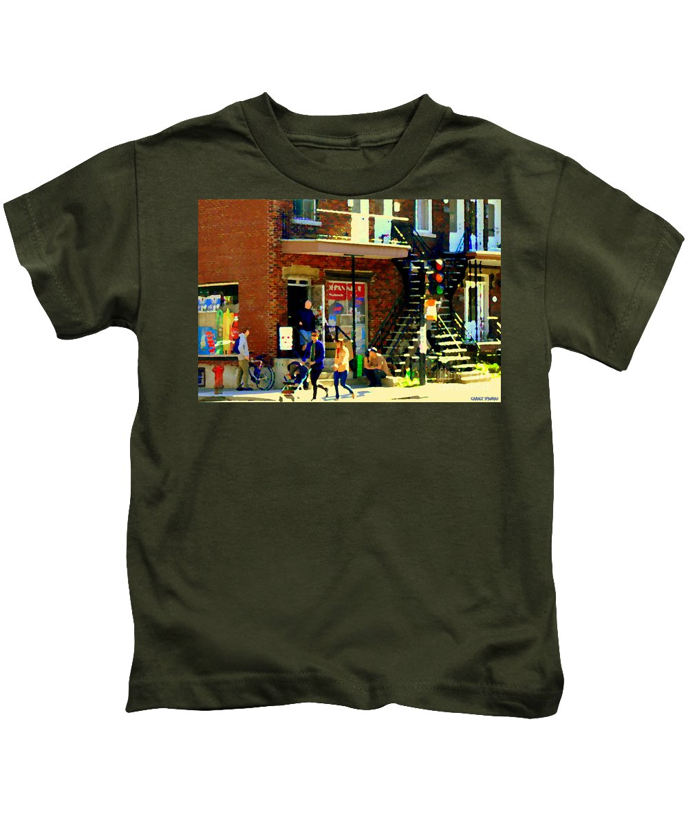 Convenience Stores Kids T-Shirt featuring the painting Corner Laurier Marche Maboule Depanneur Summer Stroll With Baby Carriage Montreal Street Scene by Carole Spandau