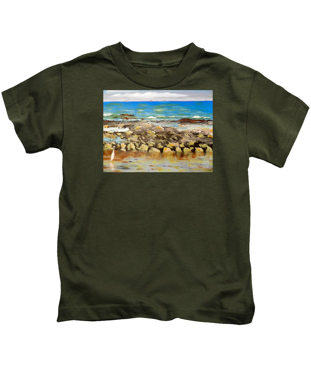 Impressionism Kids T-Shirt featuring the painting Corrimal Beach Near Towradgi Rook Pool by Pamela Meredith