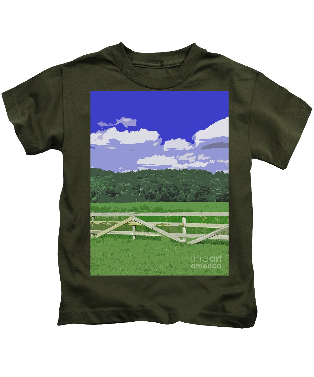 Farm Kids T-Shirt featuring the photograph Countryside Scene Digital Painting by Minding My Visions by Adri and Ray