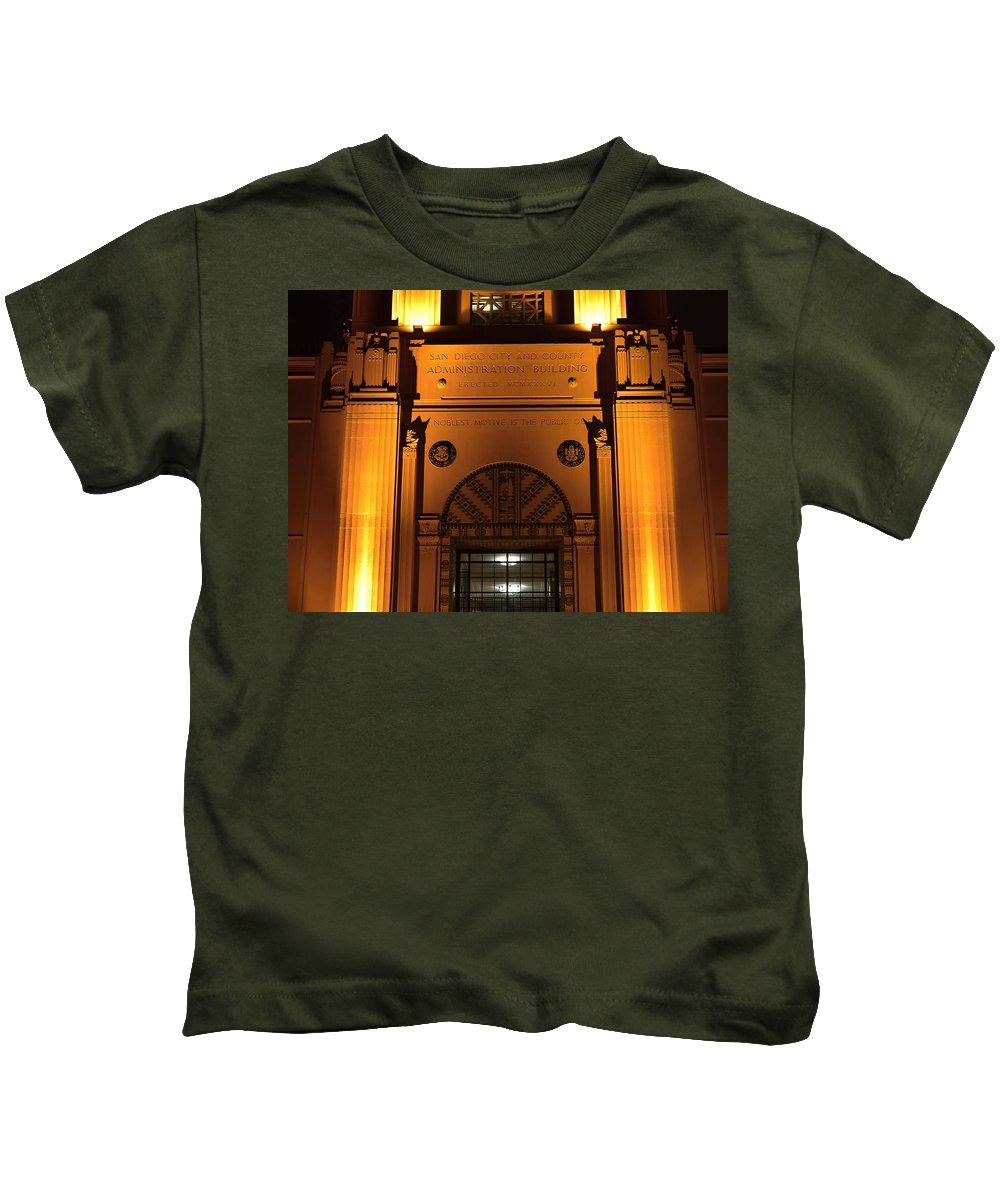 San Diego County Administration Building Kids T-Shirt featuring the photograph County Admin Bldg. 2 by See My Photos