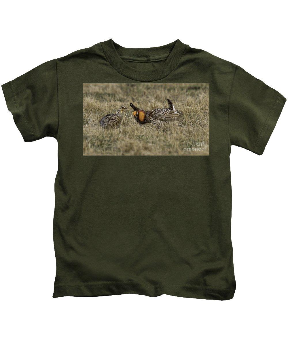 Prairie Chicken Kids T-Shirt featuring the photograph Courtship by Jan Killian