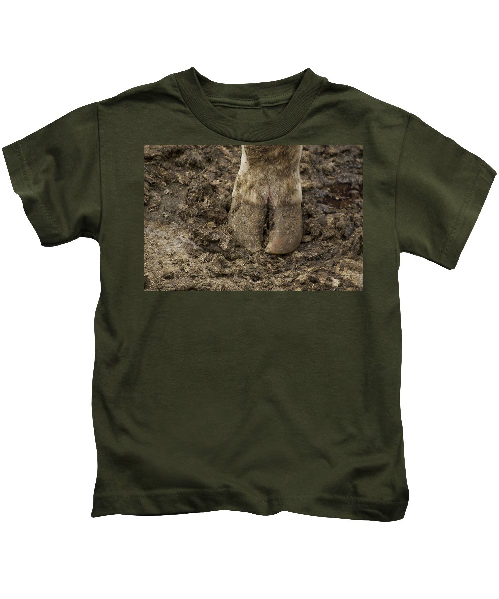Animal Kids T-Shirt featuring the photograph Cow Hoof by Thomas Woolworth