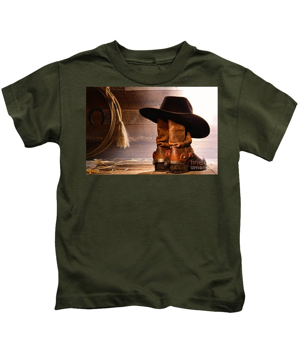 Cowboy Hat On Boots Kids T-Shirt for Sale by Olivier Le Queinec 8bbf62bc0d29