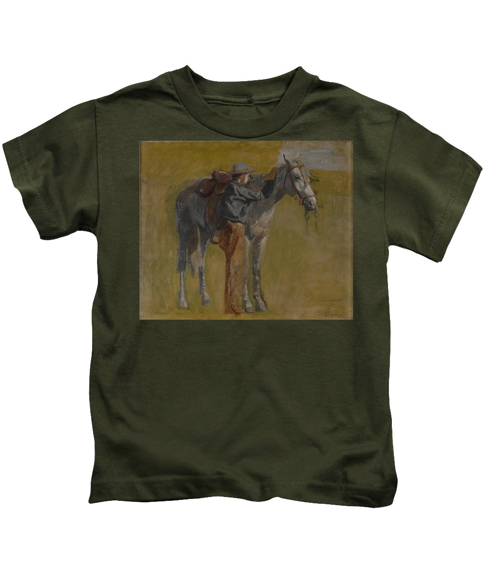 Thomas Eakins Kids T-Shirt featuring the digital art Cowboy In The Badlands by Thomas Eakins