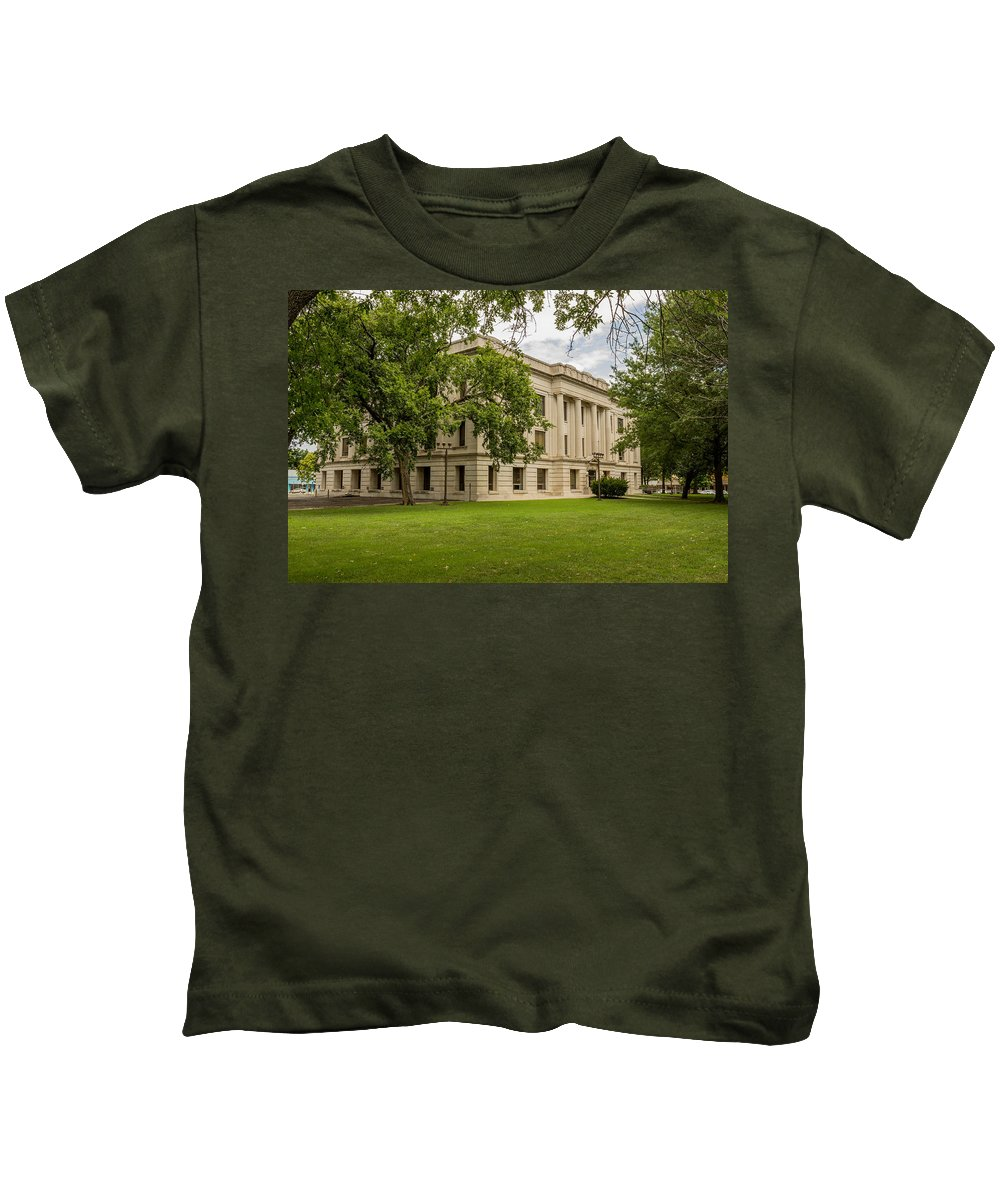 Court Kids T-Shirt featuring the photograph Crawford County Courthouse by Ken Kobe