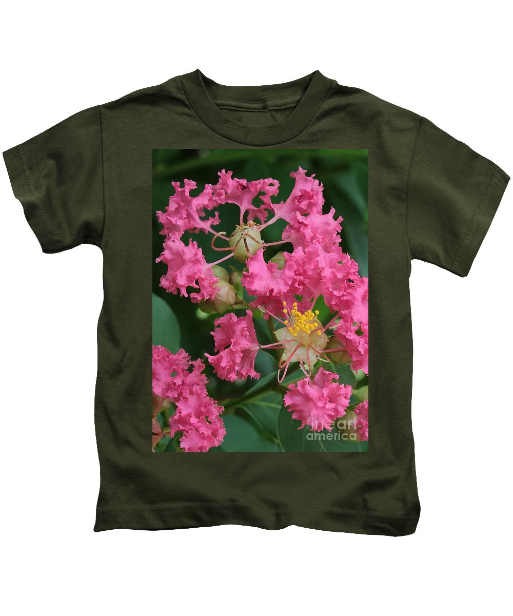 Crepe Myrtle Kids T-Shirt featuring the photograph Crepe Myrtle Macro by Carol Groenen