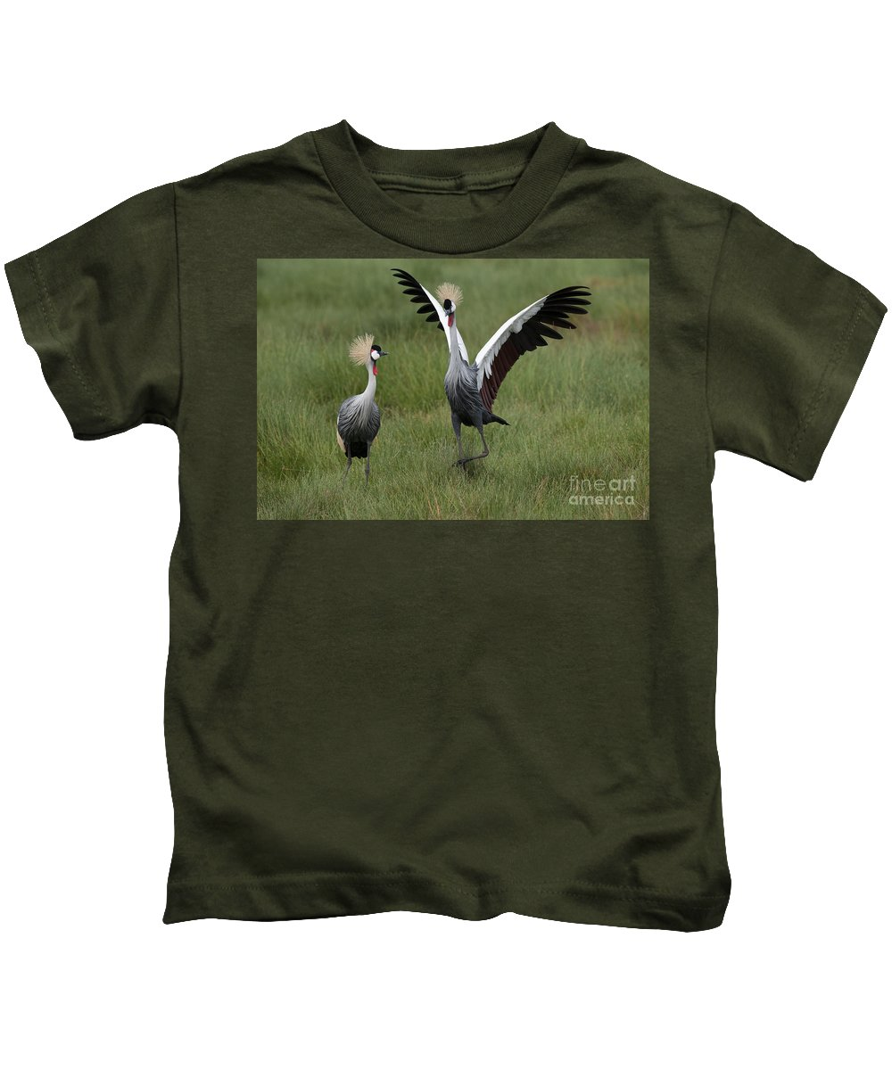 Africa Kids T-Shirt featuring the photograph Crowned Cane Courtship Display by John Shaw