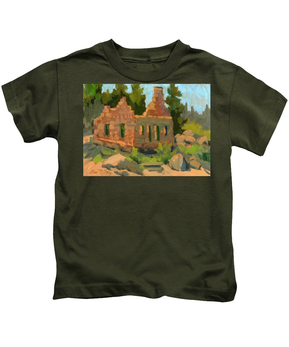 Bog Bear Lake Kids T-Shirt featuring the painting Dam Watcher's Old Home by Diane McClary
