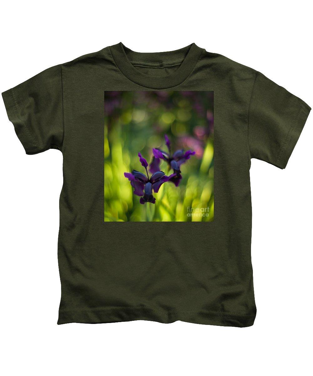 Flower Kids T-Shirt featuring the photograph Dark Irises by Mike Reid