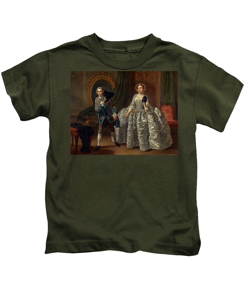 Francis Hayman Kids T-Shirt featuring the painting David Garrick And Mrs. Pritchard In Benjamin Hoadley's The Suspicious Husband by Francis Hayman