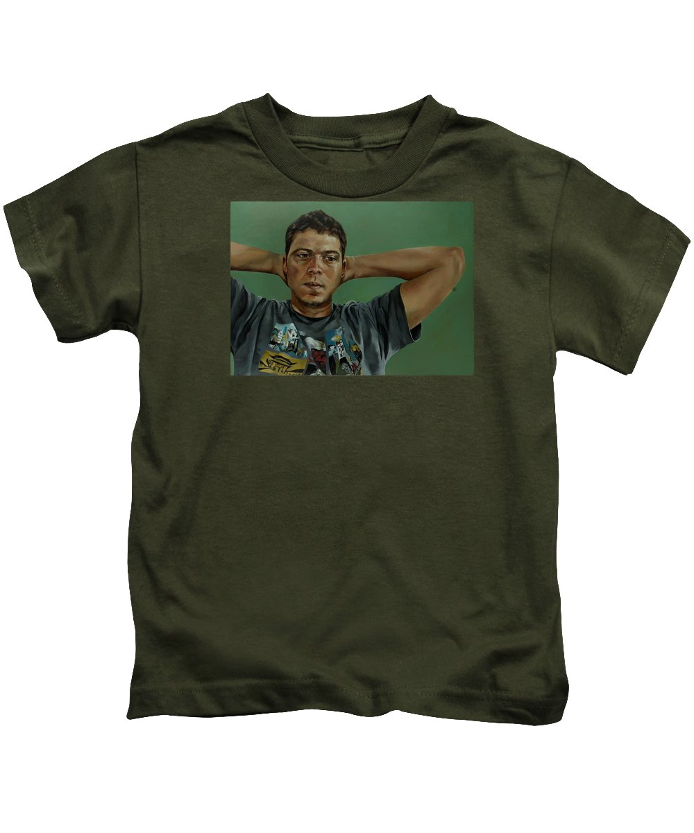 Young Man Portrait Kids T-Shirt featuring the painting Day Portrait Of A Young Man by Jolante Hesse
